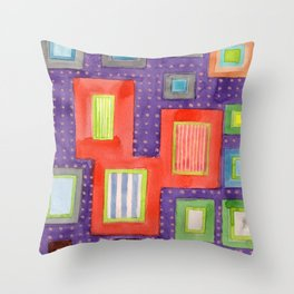Various Frames on dotted Wall Throw Pillow