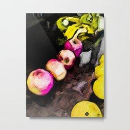 Pink Apples with Yellow Bananas and Lemons Metal Print