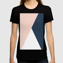Elegant blush pink & navy blue geometric triangles T-shirt