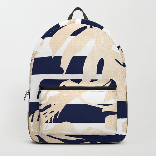 Simply Tropical Palm Leaves on Navy Stripes Backpack
