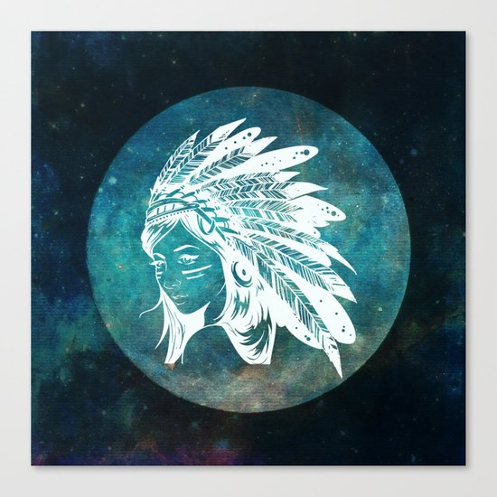 Moon Child Goddess Bohemian Girl Canvas Print