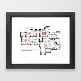 Apartments of Will Truman, Grace Adler and Jack - Floorplan Framed Art Print