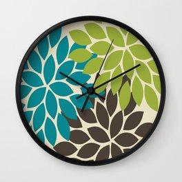 Bold Colorful Biege Brown Teal Green Dahlia Flower Burst Petals Wall Clock