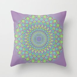 Purple Spirograph Mandala 0118 Throw Pillow