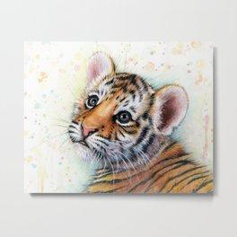 Tiger Cub Watercolor Metal Print