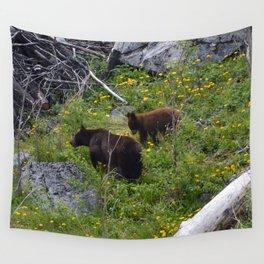 Black bear sow & cub in Jasper National Park| Canada Wall Tapestry