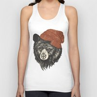 decorative Tank Tops featuring zissou the bear by Laura Graves