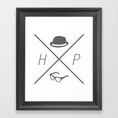 Hat and Glasses Framed Art Print