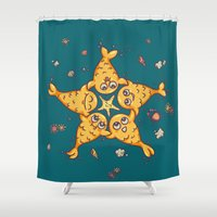 starfish Shower Curtains featuring StarFish by Lili Batista