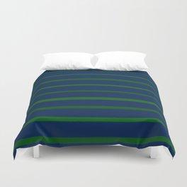 Slate Blue and Emerald Green Stripes Duvet Cover
