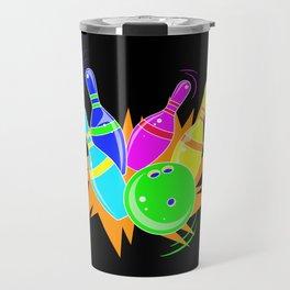 Neon Vintage Retro Strike Bowling. - Gift Travel Mug