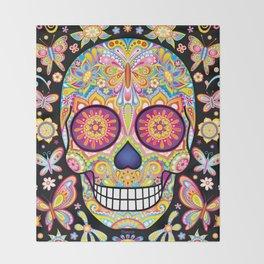 Sugar Skull Art (Mariposa) Throw Blanket