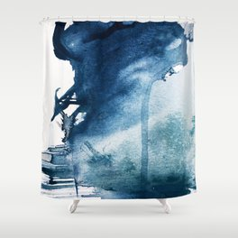 Pacific Grove: a pretty minimal abstract piece in blue by Alyssa Hamilton Art Shower Curtain
