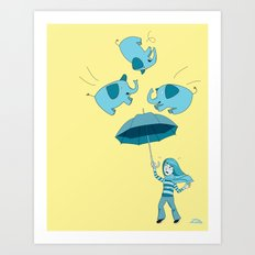Braving the Elephants. Art Print