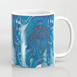 'He remembers' Ombre Blue Close-up Elephant Face Illustration with line work Coffee Mug