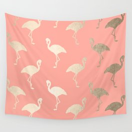Gold Flamingo Pattern Coral Pink Wall Tapestry