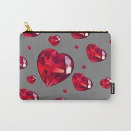 GREY ART RAINING RUBY RED VALENTINES HEARTS Carry-All Pouch