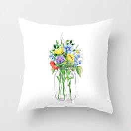Flowers in a Jar Throw Pillow