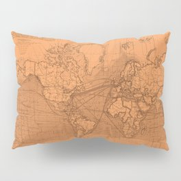World Surface Routes in Brown Pillow Sham