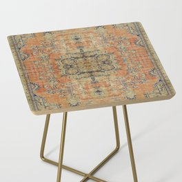 Vintage Woven Coral and Blue Side Table