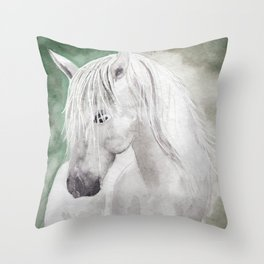 Cathy's white horse Throw Pillow
