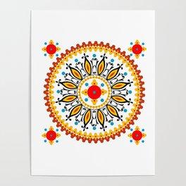 Mandala warm colour pallette Poster