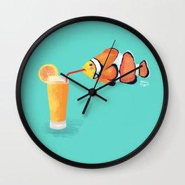 The Clown Fish Drinks Wall Clock