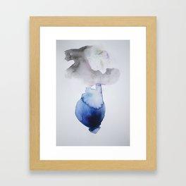 Velvet Blue Watercolor Lotus Framed Art Print