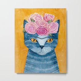 Frida Catlo in Blue Metal Print