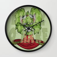 bucky Wall Clocks featuring Bucky by Twisted Dredz