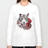 tiger Long Sleeve T-shirts featuring White Tiger by Felicia Atanasiu