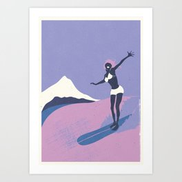 Surfer Girl in Purple Art Print