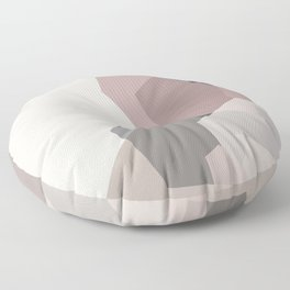 Rose Quartz Crystal #1 Blush Pink and Charcoal Graphite Gray Abstract Geometric Floor Pillow
