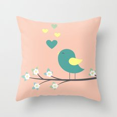 bird on branch pink Throw Pillow