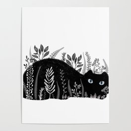 Garden Cat Black And White Poster