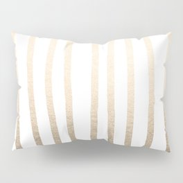 Simply Drawn Vertical Stripes in White Gold Sands Pillow Sham