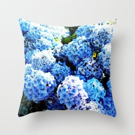 Blue flowers all summer  Throw Pillow