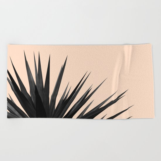 Black Palms on Pale Pink Beach Towel