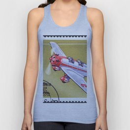 Postage stamp printed in Soviet Union shows vintage airplane Unisex Tank Top