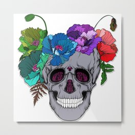 The Floral Skull Metal Print