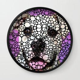Pit Bull Stone Rock'd Art By Sharon Cummings Wall Clock
