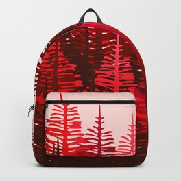 Pine Forest - Red and Pink Backpack