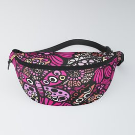 Pink Butterfly Doodle Pattern Fanny Pack
