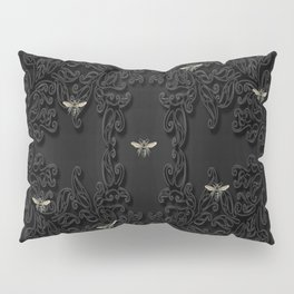Black Bees and Lace Pillow Sham