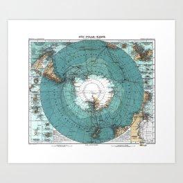 Vintage Antarctica Map Art Print