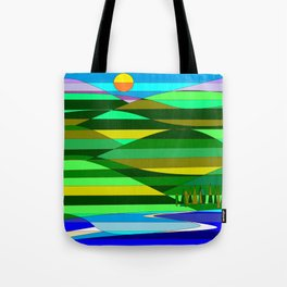 Mountain and Lake Quilted Tote Bag
