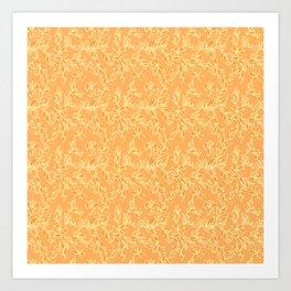 Orange Floral Pattern Art Print
