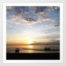Fishing Vessels at Sunrise near Pranburi Thailand Art Print