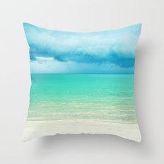 Blue Turquoise Tropical Sandy Beach Throw Pillow