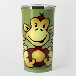 Manic Monkey with 4 thumbs up Travel Mug